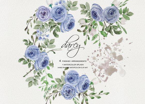 Watercolor Blue Roses Clip Art