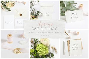 Spring Wedding mockups, stock photos