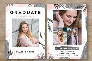 senior graduation announcement card templates creative market