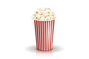Full white-and-red striped bucket of popcorn. Middle portion.