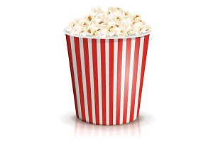 A full red-and-white striped bucket of popcorn. Large or big portion.