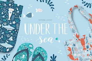 """Under The Sea"" patterns and clipart"