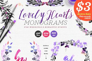 Lovely Hearts Monograms III