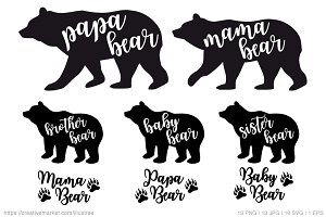 Bear family silhouettes, vector set