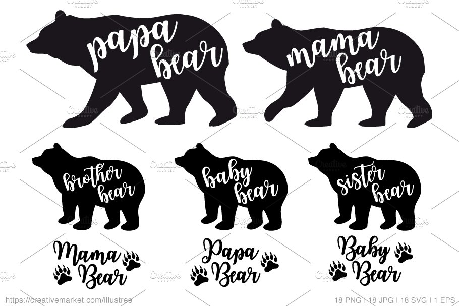 Bear Family Silhouettes Vector Set Graphics Creative