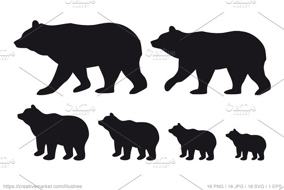 bear family silhouettes vector set graphics creative market