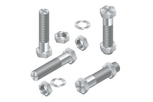 Set of Isometric Steel Screws, Bolts, Nuts and Rivets. Isolated Vector Elements