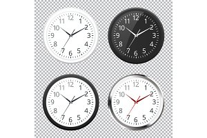 Set of Realistic classic black, white and silver round wall clock icon isolated on transparent background.