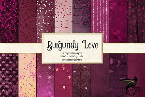 Burgundy Valentine Digital Paper