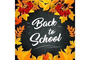 Back to School vector leaf on chalkboard poster