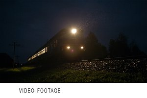 Train passing fast through a rural