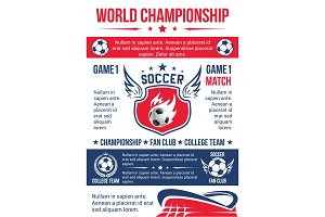Soccer game match poster for football sport club