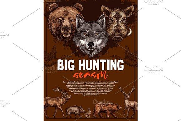 Wild Animal And Bird Poster Of Open Hunting Season