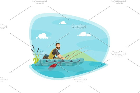 Fishing Sport Icon With Fisherman On Boat With Rod