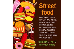 Fast food restaurant dish and drink menu poster