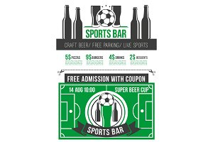 Sport bar menu poster with soccer ball and beer