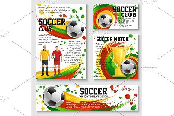 Soccer Sport Club Banner Of Football Trophy Ball