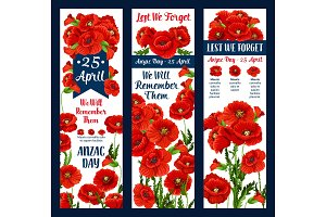 Anzac Day Lest We Forget poppy vector ribbon icon