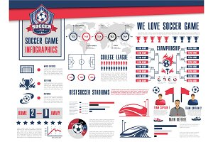 Soccer or football sport game infographic design