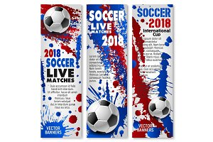 Football sport match banner with soccer ball