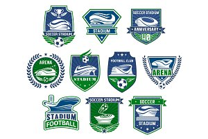 Football sport badge with soccer ball and stadium