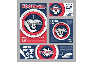 Football match poster for soccer sport game design