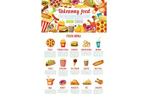 Fast food restaurant menu web banner design