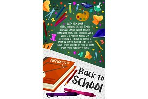 Back to School geometry stationery vector poster