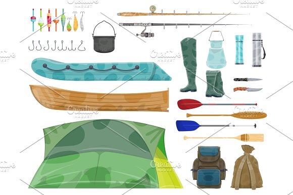 Fishing Sport Equipment And Fisherman Gear Icon