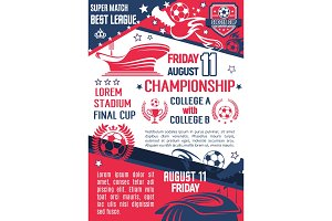 Soccer or football sport championship match banner