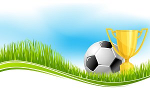 Soccer ball and football trophy banner design