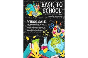 Back to School vector stationery sale sketch