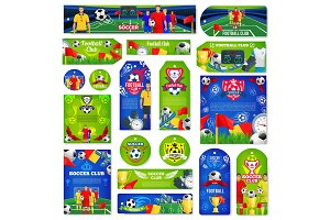 Soccer or football sport club tag and label design