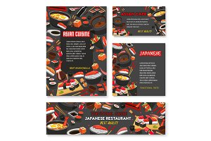 Japanese restaurant menu banner with asian food