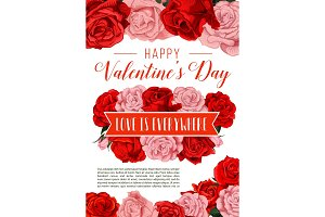 Valentine Day greeting card with rose flowers