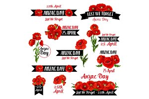 Anzac Remembrance Day badge of red poppy flower