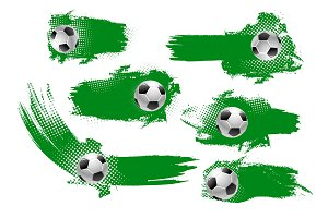 Soccer ball banner of football championship design