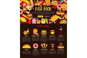 Fast food menu web banner of lunch meal and drink