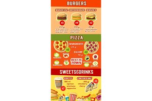 Fast food restaurant menu template of lunch dishes