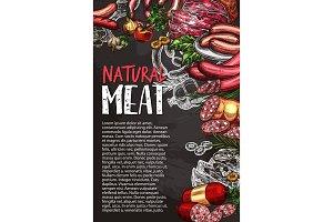 Meat sausage chalkboard poster, grill menu design