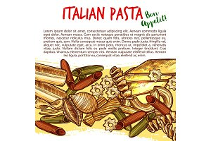 Italian pasta shapes poster with spaghetti sketch