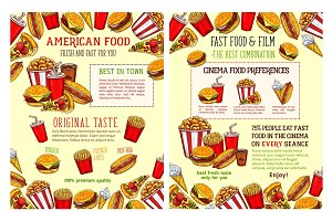 Fast food restaurant and burger cafe poster design