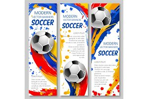 Soccer ball banner of football sport game template