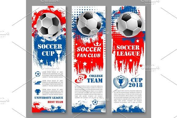 Football Sport Game Banner Of Soccer Ball Trophy