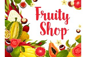 Exotic and tropical fruit poster for food design