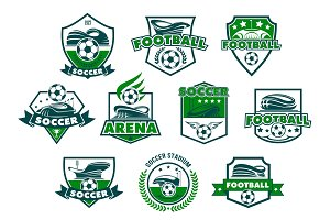 Soccer club badge with football stadium and ball