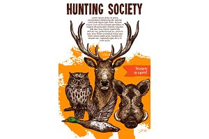 Hunting sport banner with wild animal and bird