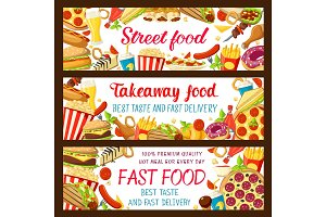 Fast food restaurant and street cafe banner design