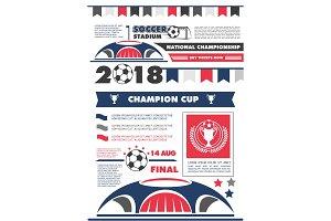Soccer or football sport championship poster