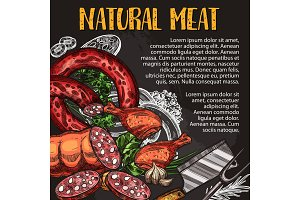 Natural meat and sausage chalkboard poster design